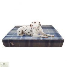 Blue Check Memory Foam Dog Bed