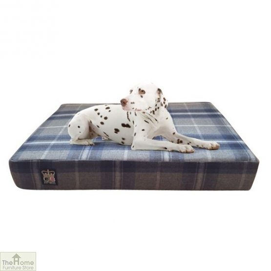 Blue Check Memory Foam Dog Bed_1