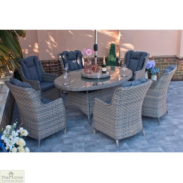 Casamoré Corfu Woodash 6 Seater Oval Dining Set