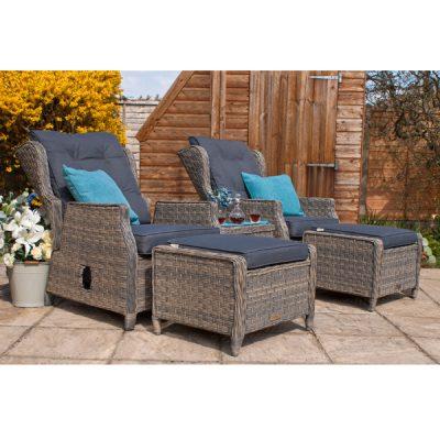 Grey Garden Furniture Reclining Armchair Set_4