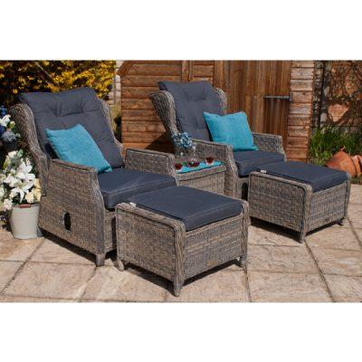 Grey Garden Furniture Reclining Armchair Set_5