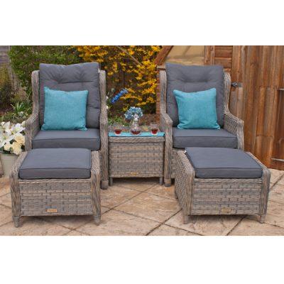 Grey Garden Furniture Reclining Armchair Set_6