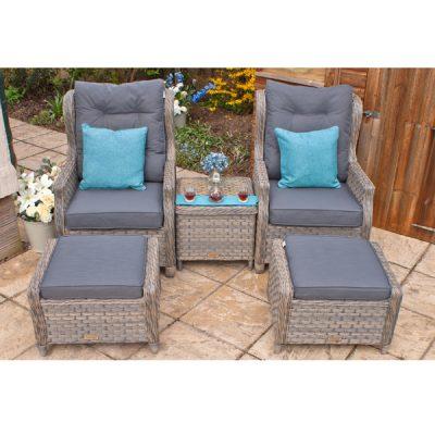 Grey Garden Furniture Reclining Armchair Set-7