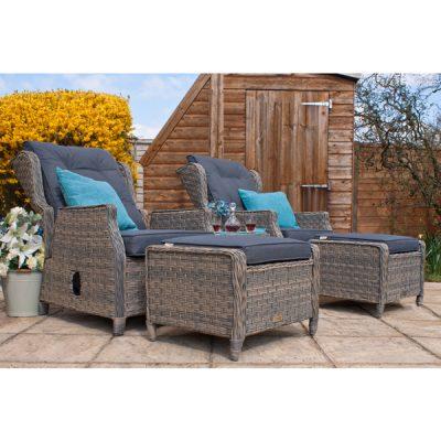Grey Garden Furniture Reclining Armchair Set-8
