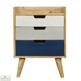 Winchester Navy 3 Drawer Bedside Table