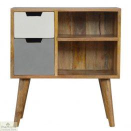 Winchester Grey 2 Drawer 2 Shelf Cabinet