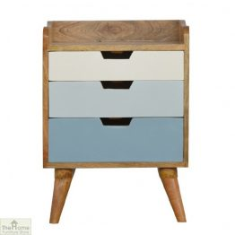 Winchester Blue 3 Drawer Bedside Table