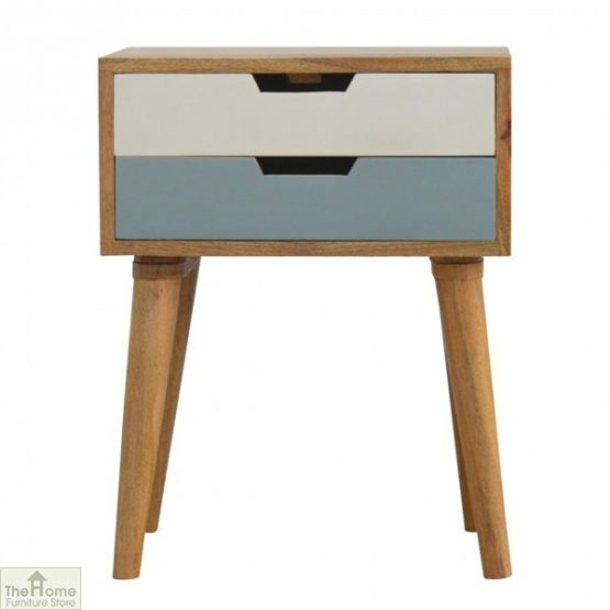 Winchester Blue 2 Drawer Bedside Table