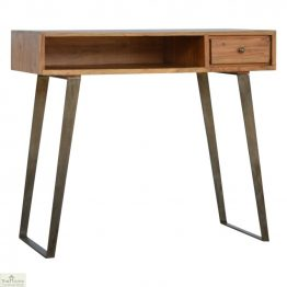 Iron Base 1 Drawer Writing Desk_1