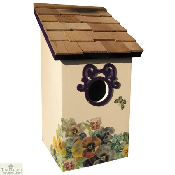 Butterfly Plum Printed Saltbox Bird House