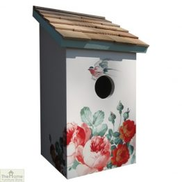 Peony Printed Saltbox Bird House