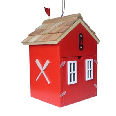 Beach Hut Red Bird House_2