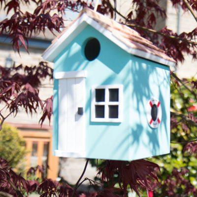 Beach Hut Turquoise Bird House_1
