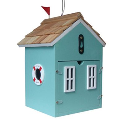 Beach Hut Turquoise Bird House_2