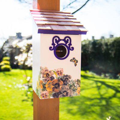 Butterfly Plum Printed Saltbox Bird House_1