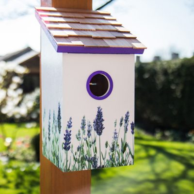 Lavender Printed Saltbox Bird House_1
