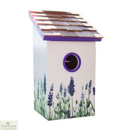 Lavender Printed Saltbox Bird House