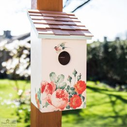 Peony Printed Saltbox Bird House_1