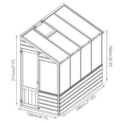 8 x 4 Evesham Lean-to Greenhouse_6