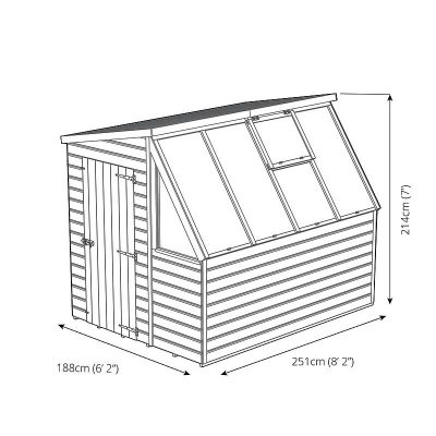 8 x 6 Wooden Potting Shed Greenhouse _4