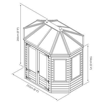 8 x 6 Octagonal Wooden Greenhouse_8