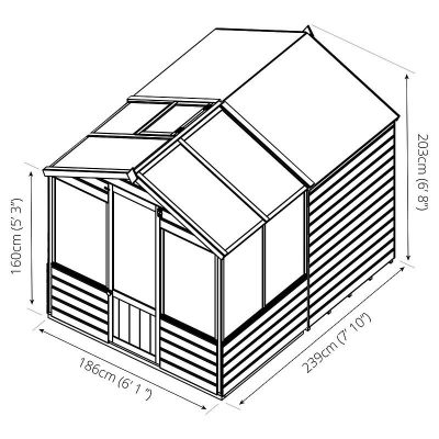 8 x 6 Combi Wooden Greenhouse Shed_8