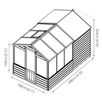 10 x 6 Combi Wooden Greenhouse Shed_11