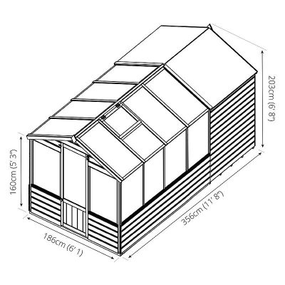 12 x 6 Combi Wooden Greenhouse Shed_9