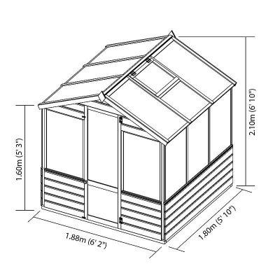 6 x 6 Evesham Wooden Greenhouse_4