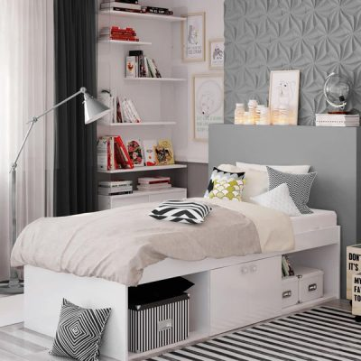 White Single Cabin Bed_1