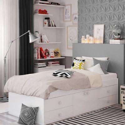 White 4 Drawer Single Cabin Bed_1