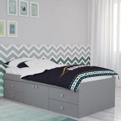 Grey 4 Drawer Single Cabin Bed_1