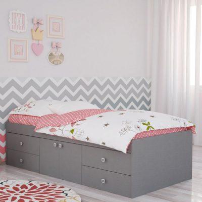 Grey 4 Drawer Single Cabin Bed_2