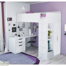 White High Loft Bed_1