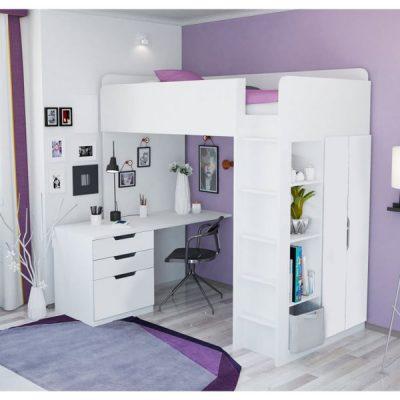 White High Loft Bed_1