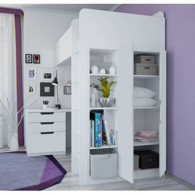 White High Loft Bed_2