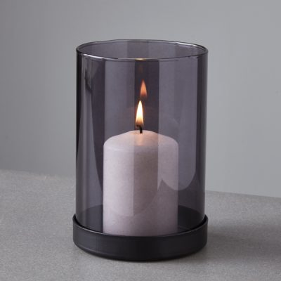 Black Tinted Glass Candle Holder_1