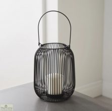 Black Cage Lantern Candle Holder