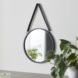 Idaho Leather Strap Round Mirror _1