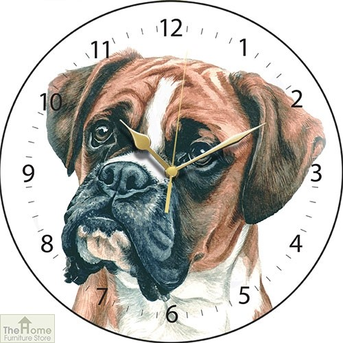 Boxer Dog Print Round Wall Clock
