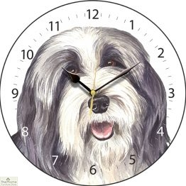 Bearded Collie Dog Print Wall Clock