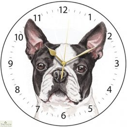 Boston Terrier Dog Print Wall Clock