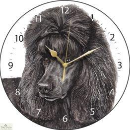 Black Poodle Dog Print Wall Clock