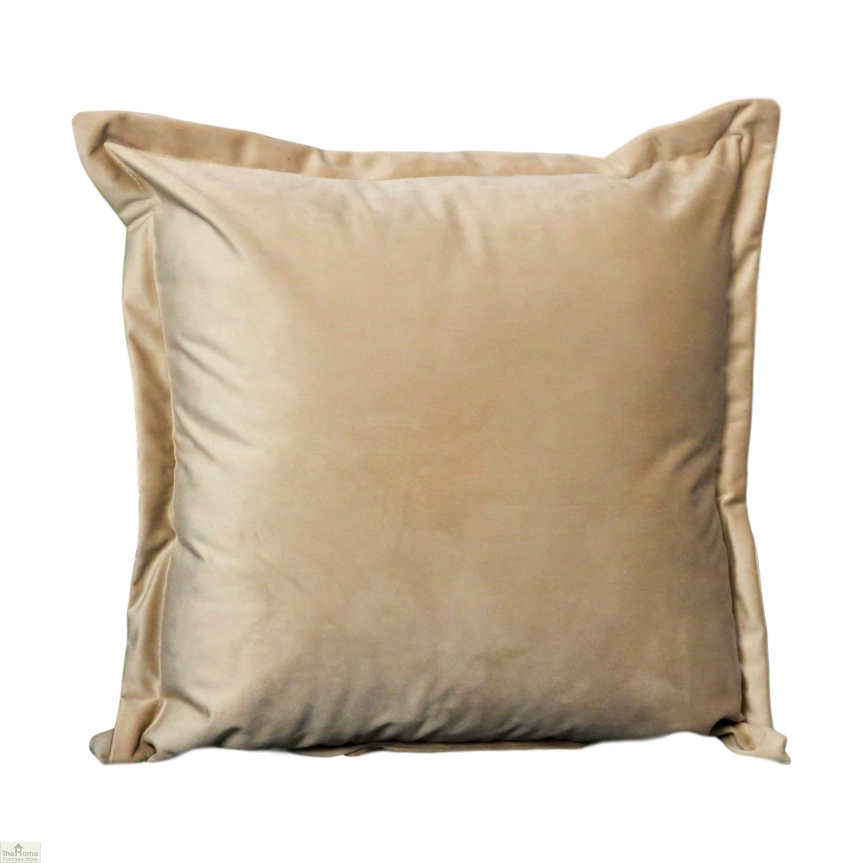 Beige Square Velvet Cushion Cover