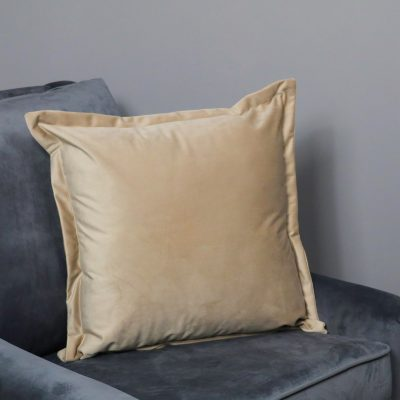 Beige Square Velvet Cushion Cover_1