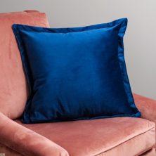 Blue Square Velvet Cushion Cover