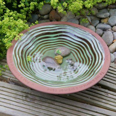 Mottled Green Terracotta Bird Bath_1