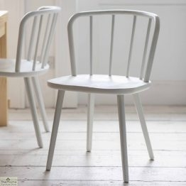 White Spindle Back Dining Chair_1