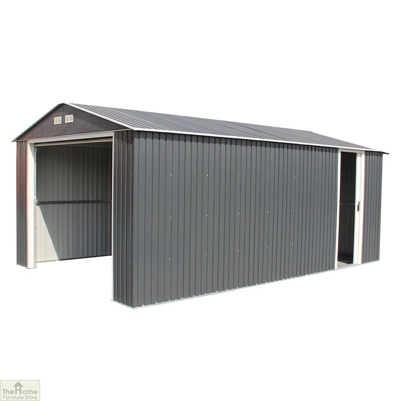 12 x 38 Grey Metal Garage