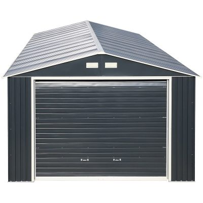 12 x 26 Grey Metal Garage_2